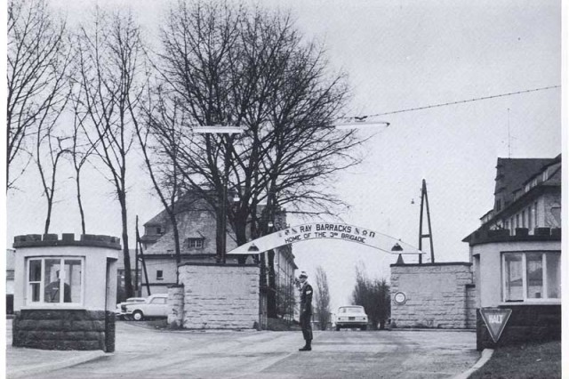 The main gate of Ray Barracks in Friedberg, Germany, is shown here in 1963