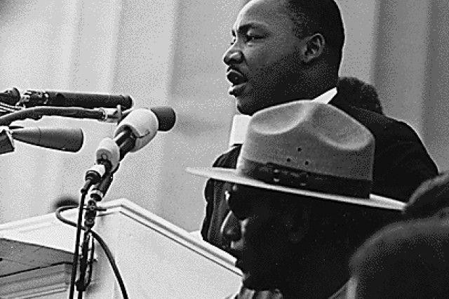 Dr. Martin Luther King, Jr. speaking at the Civil Rights March on Washington, Aug. 28, 1963.