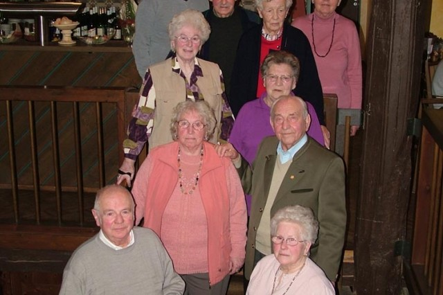 Members of the POW Kameraden Stammtisch club gather monthly to reminisce on their lives in the Darmstadt area and working at the tire depot in Ober-Ramstadt