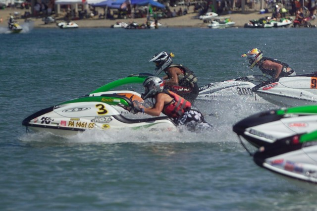 Kevin leads the pack on the #3 jet ski at the start of a race during the 2006 National Championship.