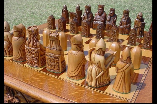 "Trevor Harding of Camp Zama, Japan, won the accomplished wood category of the 2007 Army Arts and Crafts Contest with ""Lewis Chessmen & Table."""