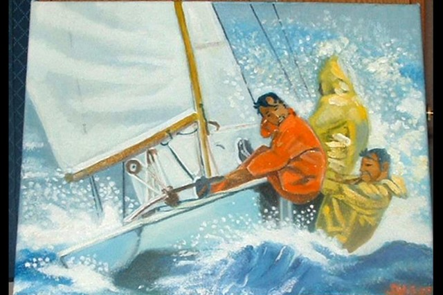 "Staff Sgt. Johnie Williams of Fort Lee, Va., won the novice oil base painting category of the 2007 Army Arts and Crafts Contest with ""A Day at Sailing."""