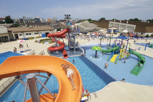 "Opened last summer, the popular ""Splish & Splash"" water park at Camp Humphrys has features similar to water parks in the United States."