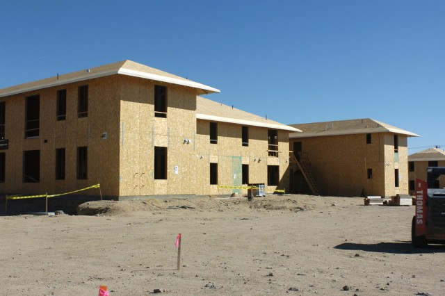 Exterior view of the new unaccompanied senior non-commissioned officer housing at the National Training Center and Fort Irwin