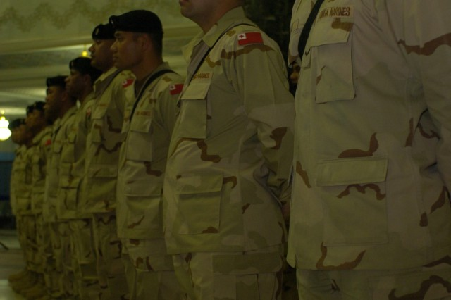 A row of Tongan Marines stand at parade rest during an awards ceremony held in their honor Feb. 5, 2008 at the Al-Faw Palace, Camp Victory, Iraq. The Tongans are a 55-man contingent deployed in support of Operation Iraqi Freedom.