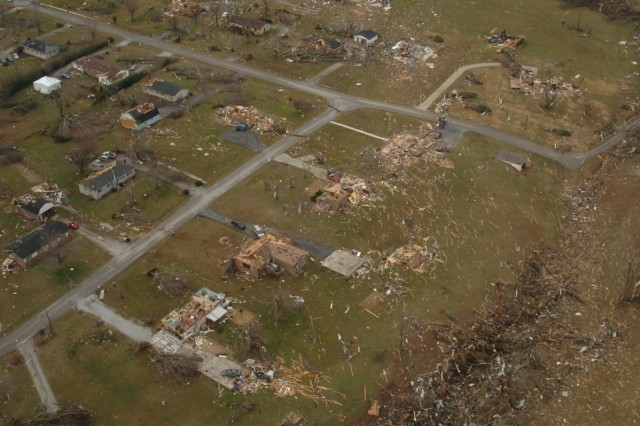 An aerial view of devastation in Tennessee caused by tornadoes Tuesday evening was captured by a staff member of the Tennessee National Guard travelling with the governor's office to assess damage Wednesday.