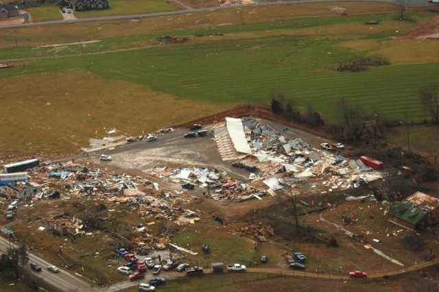 An aerial view of devastation in Tennessee caused by a tornado Tuesday evening was captured by a  member of the Tennessee National Guard travelling with the governor's staff to assess damage Wednesday.