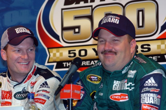 National Guard/Mountain Dew AMP driver Dale Earnhardt Jr. (left) and crew chief Tony Eury Jr. have plenty of reasons to smile after winning the Budweiser Shootout on Feb. 9 at Daytona International Speedway.