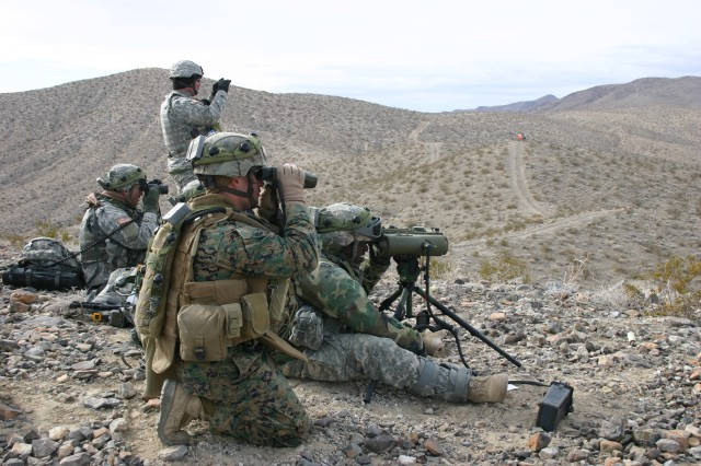 Army and Marine forward observers at the National Training Center, Ft. Irwin, Calif., scan the valley for potential targets.