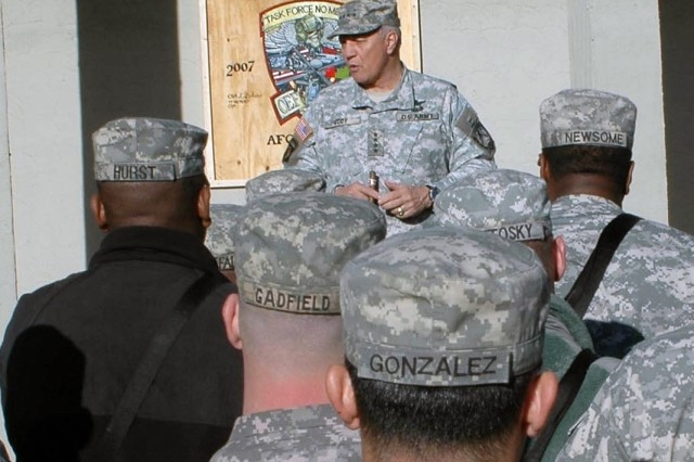 Gen. Richard Cody, Army vice chief of staff, talks to 101st Combat Aviation Brigade Soldiers at Forward Operating Base Salerno, Afghanistan Feb. 10.