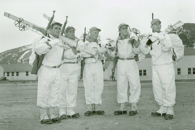 Members of the 10th Light Infantry Division at Camp Hale, Keene, New Hampshire.Left -to- right: Clare Symonds, Elton Beard, Vincent Dalzell, ____ Ducheneau, Clifford Perkins. image c.a. 1940-1944. (Unit History Collection).