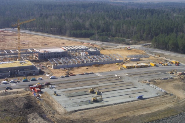 During an aerial overlook flight of Germany's Grafenwoehr installation in March 2007, the new wash rack facility is shown at about 50 percent completion. The U.S. Army Corps of Engineers, Europe District, is managing the construction of this project.