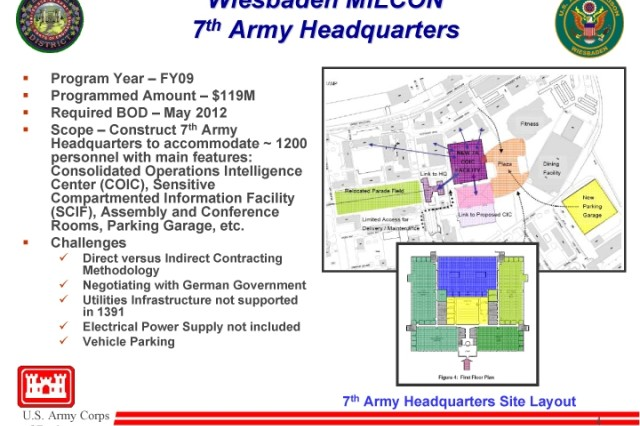 A U.S. Army Corps of Engineers briefing slide shows the tentative plan and challenges for designing and constructing the Seventh Army headquarters building, slated to be built at the U.S. Army Garrison Wiesbaden.