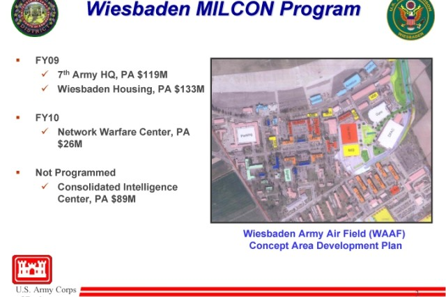 One page of a U.S. Army briefing shows the current (but tentative) Concept Area Development Plan for the U.S. Army Garrison Wiesbaden.