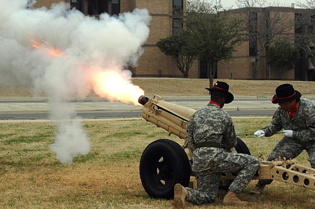 Soldiers of the 2nd Battalion, 82nd Field Artillery fire a salute round during the presentation of honors to the troopers of the 15th Sustainment Brigade during the brigade's change of command ceremony on Fort Hood's Cooper Field Feb. 15.