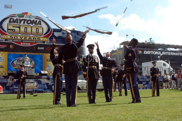 The U.S. Army Drill Team entertains NASCAR Sprint Cup Series racing fans with a dazzling exhibition of handling bayonet-tipped 1903 Springfield rifles prior to the 50th running of the Daytona 500 on Feb. 17 at Daytona International Speedway.""