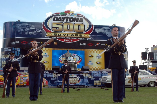 The United States Army Drill Team entertains NASCAR Sprint Cup Series racing fans with a 15-minute performance before the start of the 50th running of the Daytona 500 on Feb. 17 at Daytona International Speedway. 