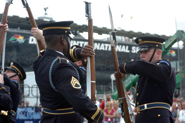 Members of the U.S. Army Drill Team perform a 15-minute exhibition for NASCAR Sprint Cup Series racing fans prior to the 50th running of the Daytona 500 on Feb. 17 at Daytona International Speedway.