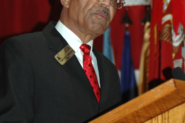 Timothy L. Hancock, mayor of the City of Killeen, speaks about black history and the accomplishments of African-Americans in the community at a Feb. 22 Black History Month observance organized by the 49th Transportation Battalion.  The event had special significance to Hancock, as he said that his great-grandfather had been a slave.
