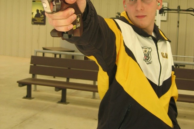 Pfc. Brad A. Balsley took first place at the USA Shooting Three-Times Rapid Fire Pistol Match Feb. 15 to 17.