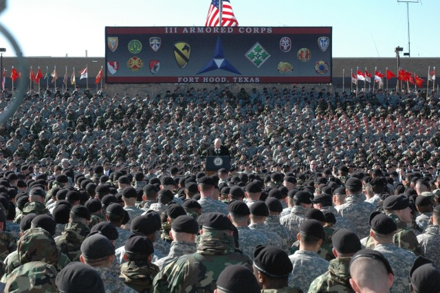 Vice President Richard Cheney talks to a sea of Soldiers at a rally on the 1st Cavalry Division's parade field on Fort Hood, Texas, Feb. 26.