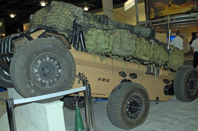 The Multifunction Utility/Logistics and Equipment Vehicle was on display at the Association of the united States Army's Institute of Land Warfare Winter Symposium and Exposition in Fort Lauderdale Fla.  The MULE is part of the Army's Future Combat Systems.