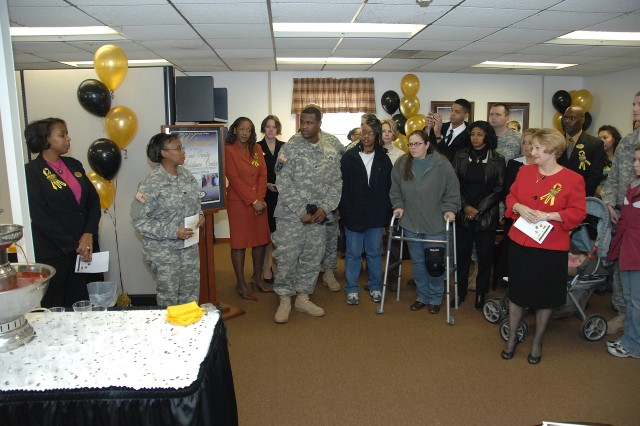 Col. Gwen Bingham, U.S. Army Garrison, Fort Lee commander, welcomes the community to an open house event for the Soldier and Family Assistance Center Feb. 29. The new center will serve as a one-stop hub for the most frequently used services by the Warrior Transition Unit Soldiers.