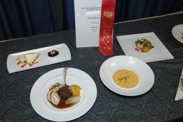 Sgt. Matthew Harris' entry for the Armed Forces Senior Chef of the Year event held March 3 at Fort Lee during the 33rd Annual U.S. Army Culinary Arts Competition. (Photo by Jamie L. Carson)