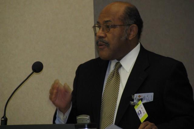 Civic leader Hundley Batts speaks February 26 at the SMDC/ARSTRAT Black History Month Celebration.