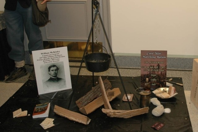 """The U.S. Army Natick Research, Development and Engineering Command showcased its latest in food technology with a demonstration at the Pentagon March 5. The demonstration entitled """"Feeding the Troops, Yesterday, Today and Tomorrow,"""" displayed feeding rations throughout the years. Pictured is the Civil War display."""