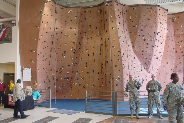 Soldiers now enjoy the latest in fitness training, including a massive rock climbing wall inside the Sgt. 1st Class Paul R. Smith Fitness Center that opened in 2007.
