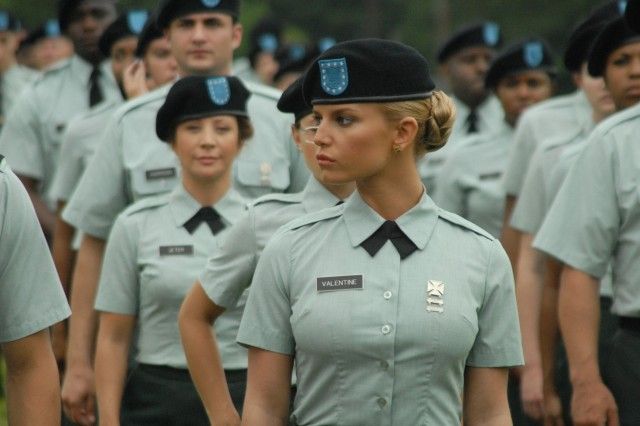 "Jessica Simpson, as Pvt Valentine, graduates basic training in this screen shot from her new film ""Major Movie Star."""