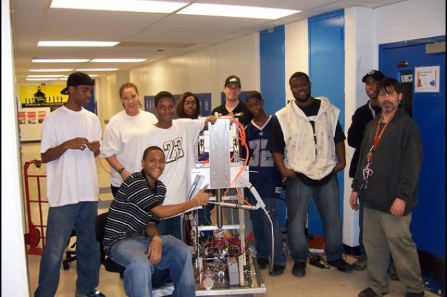 Members of the Ballou High School Robotics Team, Washington, D.C., will participate in the 2008 Chesapeake FIRST Regional Robotics Competition March 13-15 in Annapolis, Md.  Scientists and engineers of the Army's Rapid Equipping Force have mentored the students as they prepared for the robotics competition.  During the competition, the Ballou High School team will compete against more than 60 others to design and build a robot that picks up a 40-inch ball and navigates around a track both autonomously and under radio control.