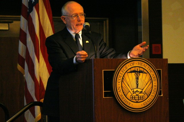 Secretary of Veterans Affairs James B. Peake speaks during Army Day at the American College of Health Executives Conference in Chicago