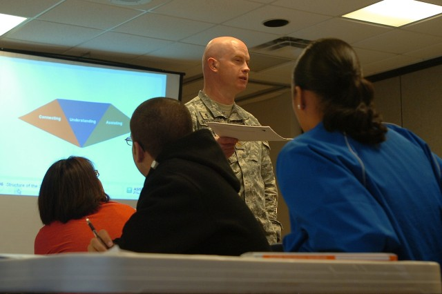 Maj. Stan Whitten, the chaplain for the 15th Sustainment Brigade, 13th Sustainment Command (Expeditionary), explains to Soldiers the Connecting, Understanding, and Assisting model of suicide intervention Mar. 12 as a part of the two-day Applied Suicide Intervention Skills Training class at the 13th SC(E) Chapel on Fort Hood.