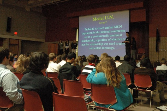 A Virginia high school student represents his group in the resolution of an ethics vignette at the West Point Leadership and Ethics Conference at George Mason University March 11.