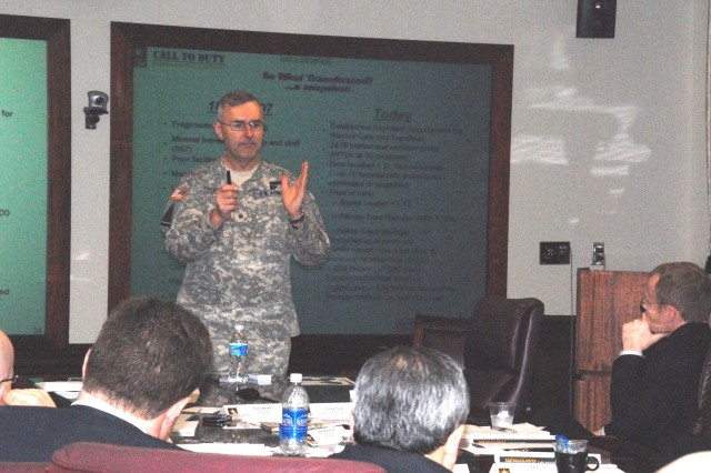 """Brig. Gen. Mike Tucker, the assistant surgeon general for warrior care and transition discusses wounded-warrior care with members of the Chicago Young President's Organization. The business leaders were at the Pentagon for a """"Fly-In,"""" to talk about important issues with Army leaders."""