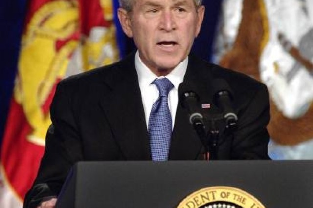 President George W. Bush, speaking to a gathering of military members at the Pentagon, March 19, 2008