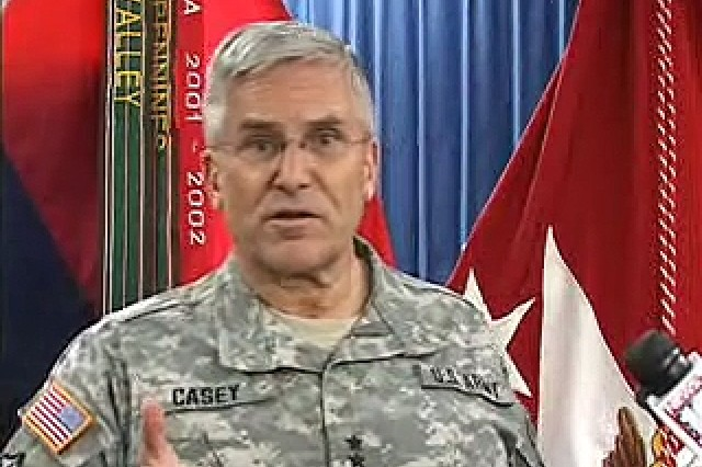 Gen. George W. Casey, Jr., Chief of Staff of the Army, addressing an audience during a visit to Fort Drum, NY.