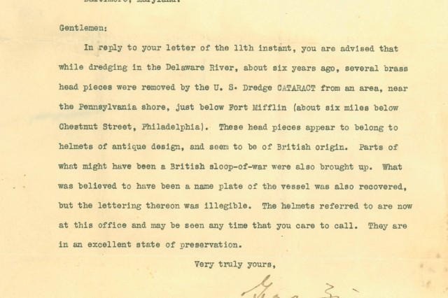 The original letter explaining the find of a military supply ship and a portion of the contents (Author's Collection).