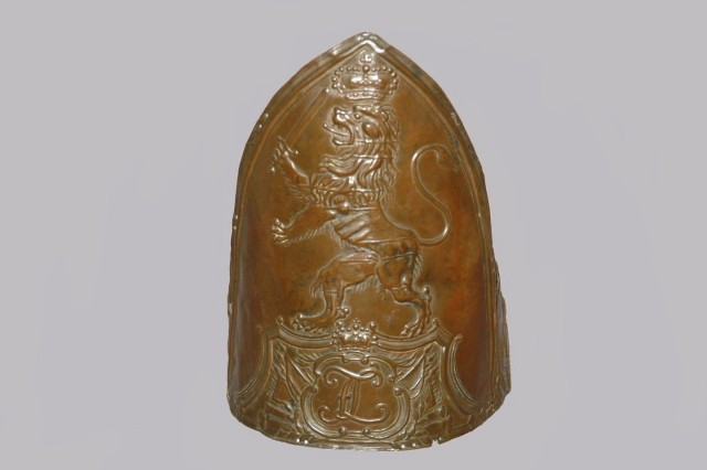 A view of the front plate of a Fusilier (German infantry) Miter cap (Author's Collection).