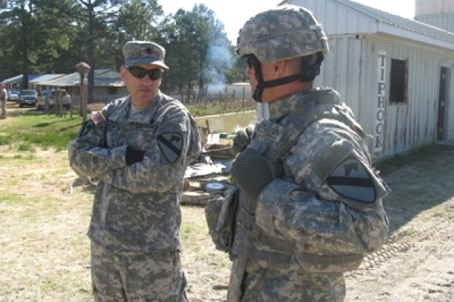Command Sgt. Maj. Philip Johndrow, 1st Cavalry Division's top noncommissioned officer, visits the 4th Brigade Combat Team during unit training at the Joint Readiness Training Center in Fort Polk, La., March 20.