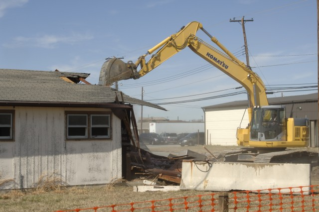 Former World War II buildings on Aberdeen Proving Ground undergo demolition as part of the first steps in implementing the 2005 Base Realignment and Closure plan at Aberdeen Proving Ground, Md.