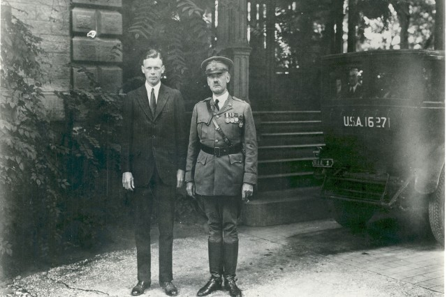 """Charles Lindbergh with COL David King, then Arsenal commander, during August 1927 visit."""""""