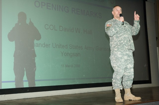 USAG-Yongsan Commander Col. Dave Hall tells building managers the importance of their mission March 11 at Balboni Theater.