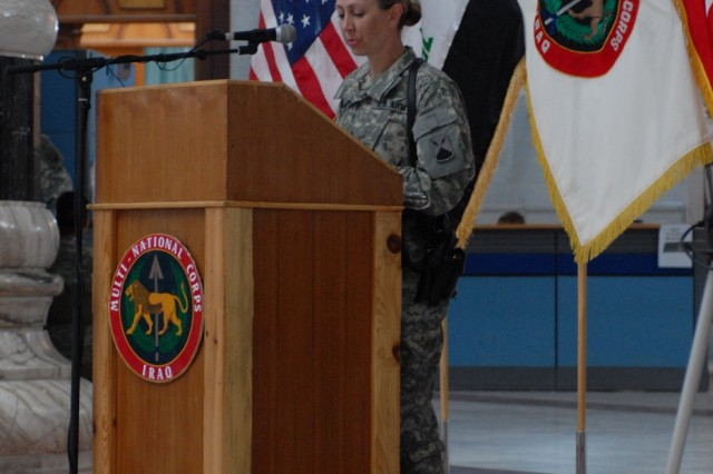 """Lt. Col. Kris Kramarich, commander, 44th Expeditionary Signal Battalion, was the keynote speaker at the Multi-National Corps - Iraq """"Women's Art, Women's Vision"""" Women's History Month celebration."""