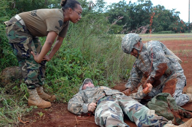 """The """"blood"""" is not real but the training is very realistic. Soldiers from the 25th Combat Aviation Brigade participate in Combat Lifesaver Course training this month at Wheeler Army Airfield, Hawaii."""