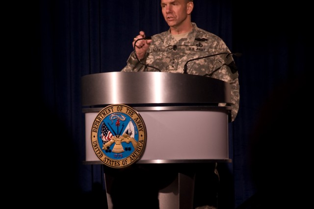 Combined Arms Center Commander speaks to Army public affairs professionals