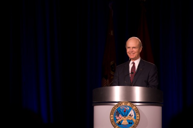 Secretary of the Army Pete Geren speaks to more than 500 Army public affairs professionals March 31 at the 2008 Worldwide Public Affairs Symposium in McLean, Va. The secretary detailed the importance of telling the Army story in the 21st century.