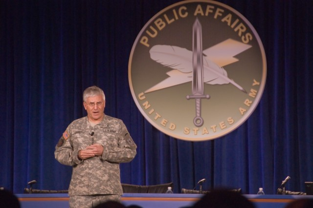 Army Chief of Staff Gen. George W. Casey, Jr. addresses the 2008 Army Worldwide Public Affairs Symposium April 1 at McLean, Va.